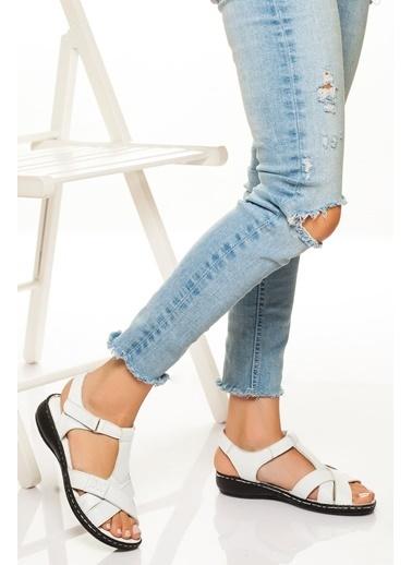 Derithy Derithy-Hakiki Deri Sandalet-Kırmızı Beyaz